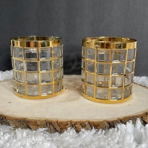 2 Vintage Mid Century Imperial Glass Shoji 22kt